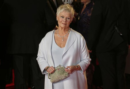 "Actress Judi Dench arrives for the royal world premiere of the new 007 film ""Skyfall"" at the Royal Albert Hall in London in this October 23,"