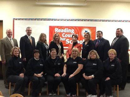 Front row (from left):  Galesburg-Augusta Primary School kindergarten teachers: Leslie McCaw, Julie Maas, Kristen Porter, Beckey Murray; and pre-K teachers Stacey Meyers and Kathleen Kline. Back row (from left):Chris Sargeant,  Tim Vagts,  Karen Rutherford,  Sonia Lewis,  Margie McGlinchey,  Kristin Kite, Mike Larson,  Garth Cooper.