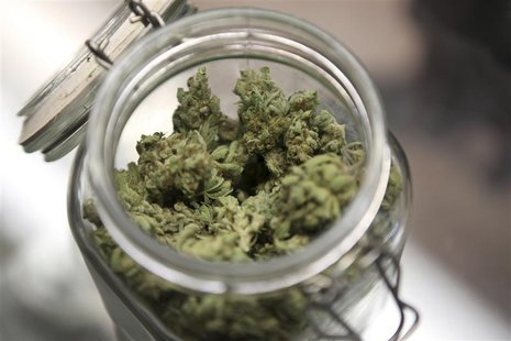 Medical marijuana is shown in a jar at The Joint Cooperative in Seattle, Washington January 27, 2012. REUTERS/Cliff DesPeaux