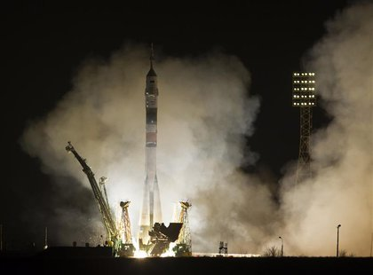 The Soyuz TMA-08M spacecraft carrying the International Space Station (ISS) crew of U.S. astronaut Chris Cassidy and Russian cosmonauts Pave