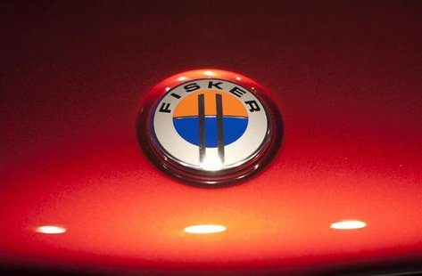 The Fisker automotive electric Atlantic sedan logo is seen during its unveiling ahead of the 2012 International Auto Show in New York April