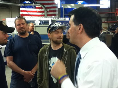 Governor Scott Walker, talking with workers at Wausau Container Corporation