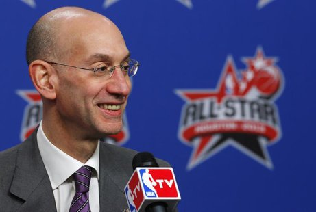 Adam Silver, named as the next NBA Commissioner, speaks at a news conference before the All Star slam dunk competition during the NBA basket