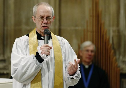 The new Archbishop of Canterbury Justin Welby speaks to the congregation during his first service at Canterbury Cathedral in southern Englan