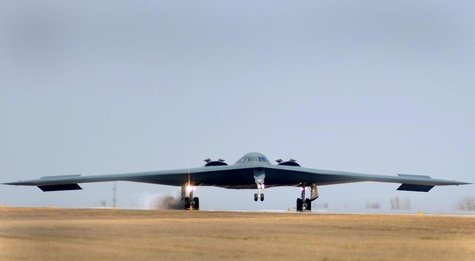 One of three Air Force Global Strike Command B-2 Spirit bombers returns to home base at Whiteman Air Force Base in Missouri, March 20, 2011
