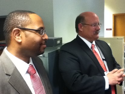 Department of Workforce Development Secretary Reggie Newson (L) and Area Director Tom Younger (R) at the Wausau Job Center