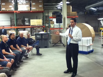 Governor Scott Walker, during a stop at Wausau Container Corporation