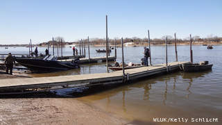 Warming temperatures make the Fox Point boat launch in De Pere a destination for walleye fishermen, March 29, 2013. (courtesy of FOX 11).