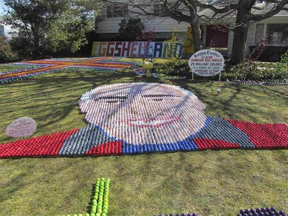 A portrait of Ron Manolio made of colored eggs graces the front lawn of his family home is shown in this handout photo provided to Reuters i