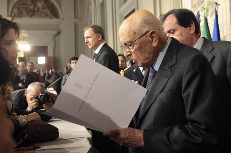 Italian President Giorgio Napolitano arrives for a media conference at the Quirinale palace in Rome, March 30, 2013. REUTERS/Remo Casilli