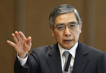 Bank of Japan's (BOJ) Governor Haruhiko Kuroda speaks during the upper house Financial Affairs committee of the Parliament in Tokyo March 28
