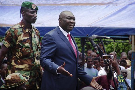 Central African Republic's new President Michel Djotodia speaks to his supporters at a rally in favour of the Seleka rebel coalition in down