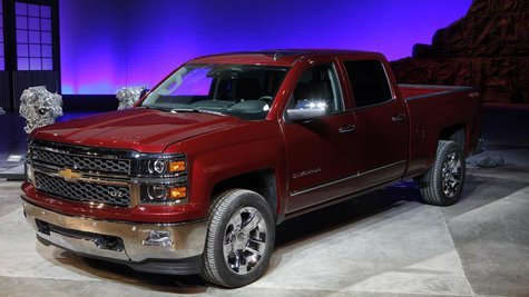 General Motors displays its 2014 Chevrolet Silverado full-size pickup truck after unveiling it and the 2014 GMC Sierra full-size pickup in P