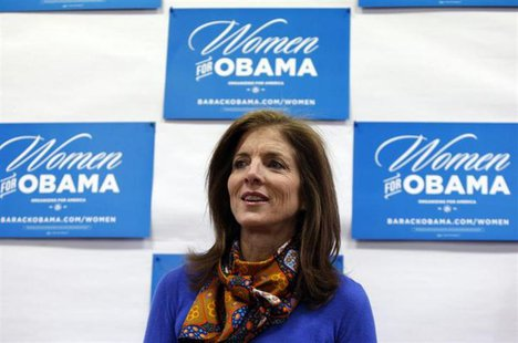 Caroline Kennedy speaks to volunteers for U.S. President Barack Obama at the Obama for America New Hampshire Office in Portsmouth, New Hamps