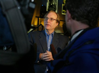 Paul Allen, Microsoft co-founder and the world's fourth richest man according to Forbes Magazine, speaks to the media after he announced pla
