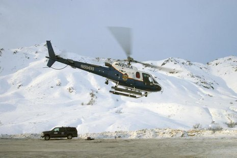 The Helo-1 helicopter is pictured at Hatcher Pass, Alaska, in this handout photo from 2008, courtesy of the Alaska State Troopers. The Alask