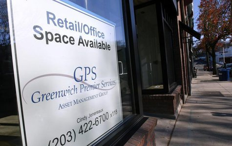 A sign advertises available retail/office space in downtown Greenwich, Connecticut, November 17, 2008. REUTERS/Mike Segar