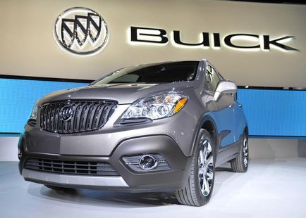 The new 2013 Buick Encore crossover is displayed on the final press preview day for the North American International Auto Show in Detroit, M