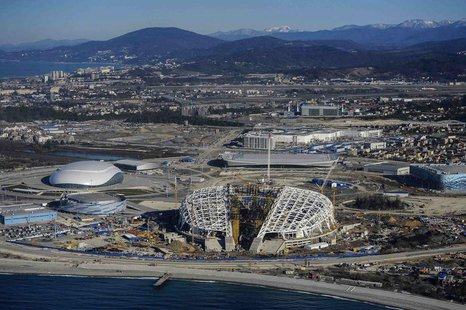 A view from a helicopter shows the Fisht Olympic Stadium (C) and other Olympic venues under construction for the 2014 Winter Olympic games i