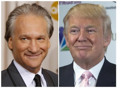 This combination photo shows Bill Maher in Hollywood, California, February 22, 2009 and Donald Trump in Las Vegas, Nevada, December 19, 2012