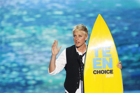 Comedian and talk show host Ellen DeGeneres speaks after receiving the Choice Comedian Award at the Teen Choice Awards at the Gibson amphith