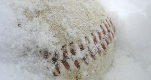 Baseball in snow. Photo courtesy UWSP Athletic Dept.