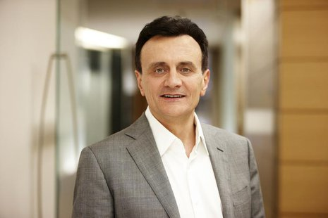 The Chief Executive Officer (CEO) of AstraZeneca, Pascal Soriot, is seen posing for a photograph in this undated picture provided by AstraZe
