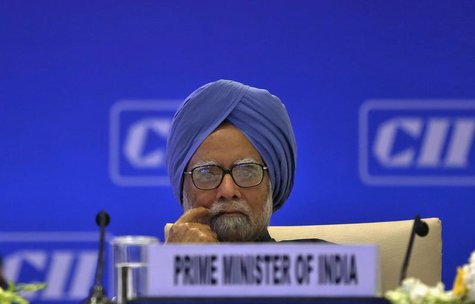 India's Prime Minister Manmohan Singh attends the annual general meeting and national conference of the Confederation of Indian Industry (CI