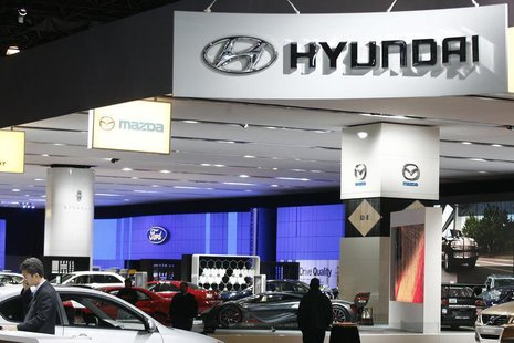 A sign for automaker Hyundai hangs at the 2008 New York International Auto Show March 19, 2008. REUTERS/Keith Bedford