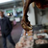 A chicken is seen at a local market in Minhang district, south of Shanghai April 3, 2013. REUTERS/Carlos Barria