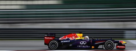 Red Bull Formula One driver Sebastian Vettel of Germany drives during the qualifying session for the Malaysian F1 Grand Prix at Sepang Inter