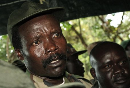 Leader of the Lord's Resistance Army Joseph Kony speaks to journalists after a meeting with U.N. humanitarian chief Jan Egeland at Ri-Kwamba