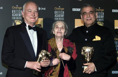 (L-R) James Ivory, Ruth Prawer Jhabvala and Ismail Merchant, who together form Merchant Ivory Productions, receive a British Academy film fe