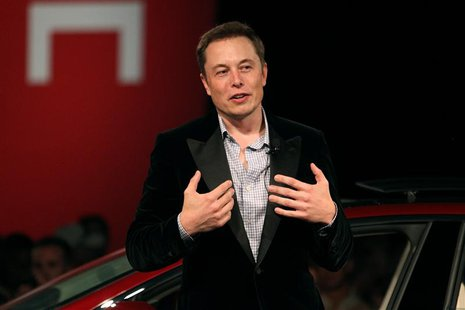 Tesla Motors CEO Elon Musk speaks during the Model S Beta Event held at the Tesla factory in Fremont, California in this October 1, 2011, fi