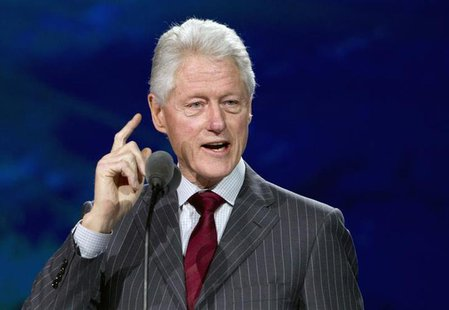 Former U.S. President Bill Clinton speaks during a Samsung keynote address at the Consumer Electronics Show (CES) in Las Vegas January 9, 20