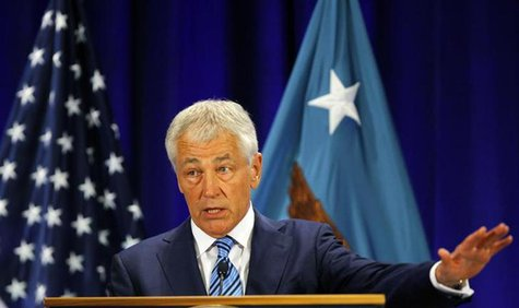 U.S. Secretary of Defense Chuck Hagel gives a speech on fiscal defense spending at Ft. McNair in Washington April 3, 2013. REUTERS/Gary Came