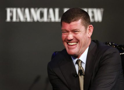 Australian Businessman and founder of Australia's Crown Ltd, James Packer laughs while answering questions at an evening business event in S