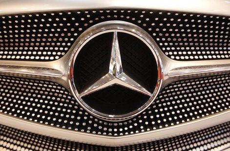 The logo of a Mercedes car is pictured during a press presentation prior to the Essen Motor Show in Essen November 30, 2012. REUTERS/Ina Fas