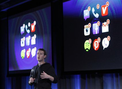 Mark Zuckerberg, Facebook's co-founder and chief executive speaks during a Facebook press event in Menlo Park, California, April 4, 2013. RE