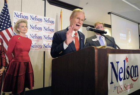 U.S. Sen. Bill Nelson West (R-FL) addresses supporters during his victory rally in Orlando, Florida, November 6, 2012. REUTERS/Scott A. Mill