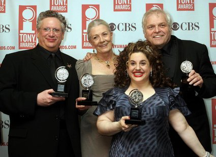 Actors Harvey Fierstein (L), Vanessa Redgrave (2nd L), Marissa Jaret Winokur (2ndR), and Brian Dennehy pose with their Tony Awards at the 57