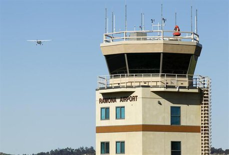 The air traffic control tower is shown at the Ramona Airport in Ramona, California March 12, 2013. REUTERS/Mike Blake