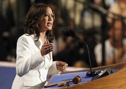 California Attorney General Kamala Harris addresses the second session of the Democratic National Convention in Charlotte, North Carolina Se
