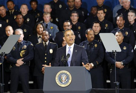U.S. President Barack Obama speaks about tighenting gun regulations during a visit to the Denver Police Academy in Denver, Colorado April 3,