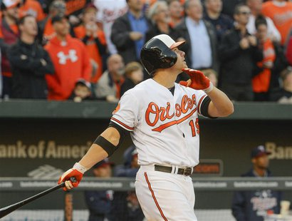 Baltimore Orioles batter Chris Davis watches the flight of the ball after stroking a grand slam in the eighth inning off of Minnesota Twins