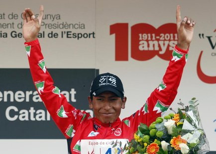 Colombia es Pasion's cyclist Nairo Quintana celebrates on the podium after the seventh and final stage of the Tour of Catalunya cycling race