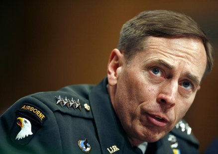 US Commander in Iraq General David Petraeus speaks to the Senate Armed Services Committee on Capitol Hill in Washington April 8, 2008. REUTE