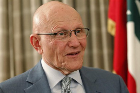 Newly elected Lebanese Prime Minister Tammam Salam speaks during an interview with Reuters at his home in Beirut April 7, 2013. Salam was na