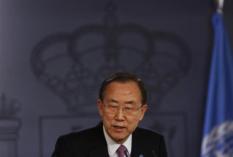United Nations (U.N.) Secretary General Ban Ki-moon speaks during a joint news conference with Spain's Prime Minister Mariano Rajoy (not pic
