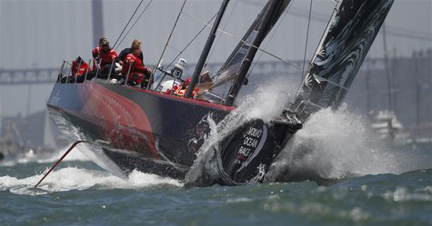 Volvo Ocean Race team Puma sails during eighth leg of Volvo Ocean Race in Lisbon June 10, 2012. The eighth leg of Volvo Ocean Race starts to